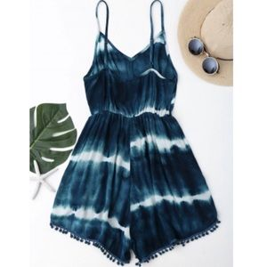 Teal Tie-Dyed Cami Pom Pom Cover Up Romper